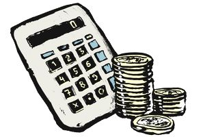 Illustration of calculator and stacked coins against white background