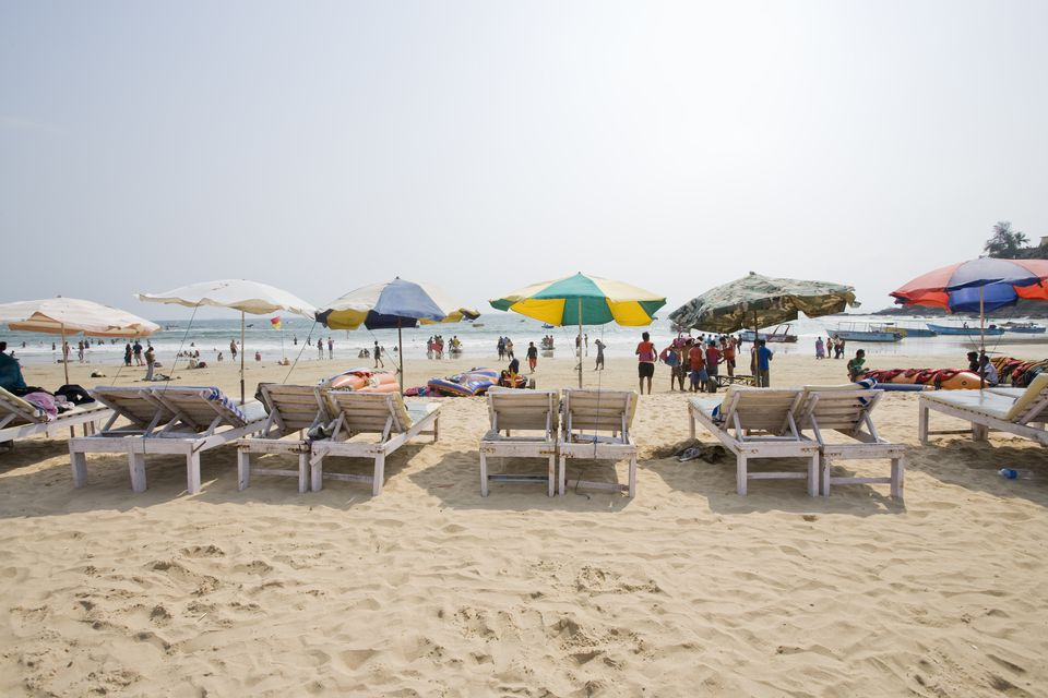 Sun lounges, Baga Beach.