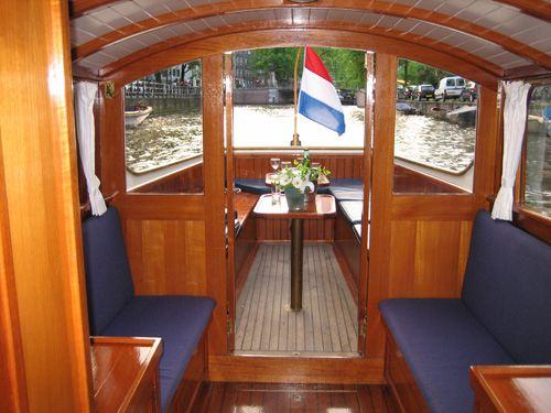 Interior of a classic canal boat