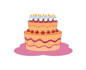 A pink and orange birthday cake with candles
