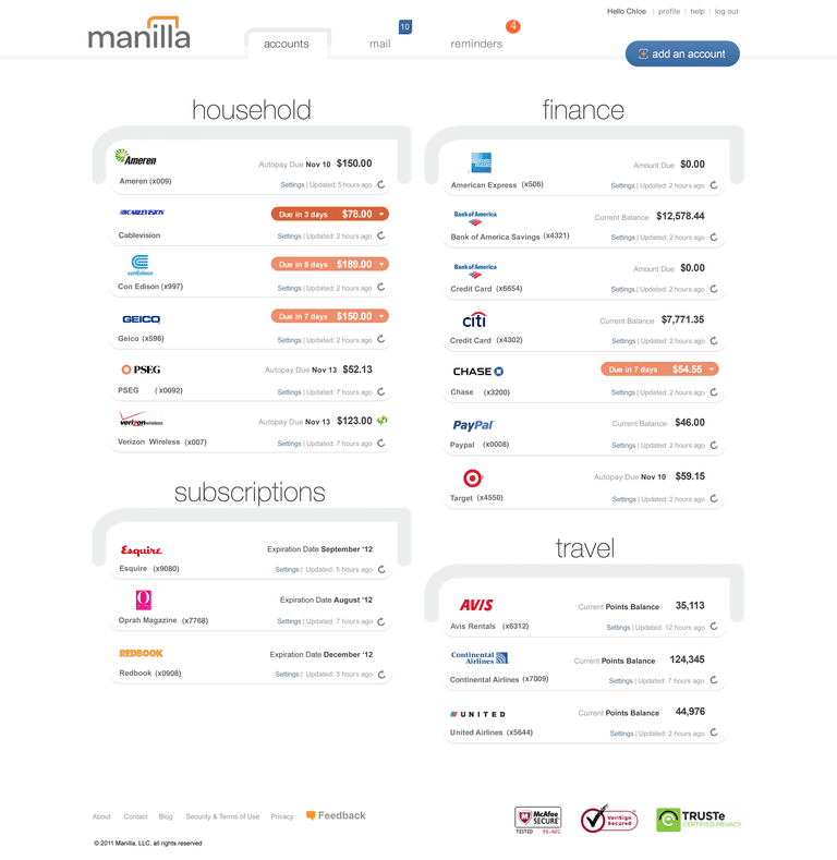 Manilla online bill and financial account organizer.