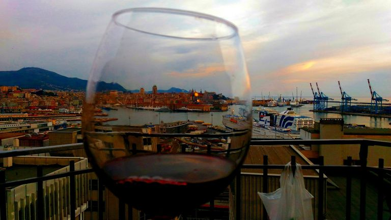 Close-Up Of Wine Glass Against a River