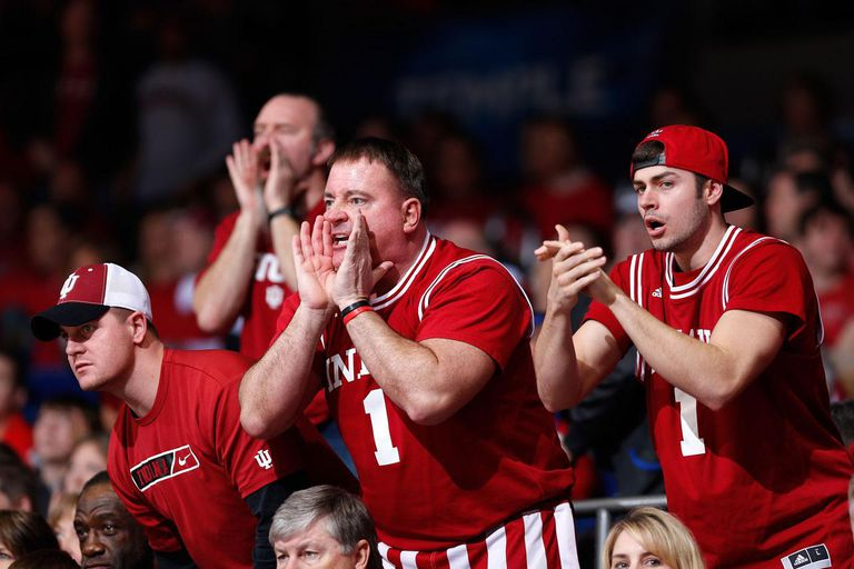 DAYTON, OH - MARCH 24: Indiana Hoosiers fans yell from the crowd in the second half against the Temple Owls during the third round of the 2013 NCAA Men's Basketball Tournament at UD Arena on March 24, 2013 in Dayton, Ohio.