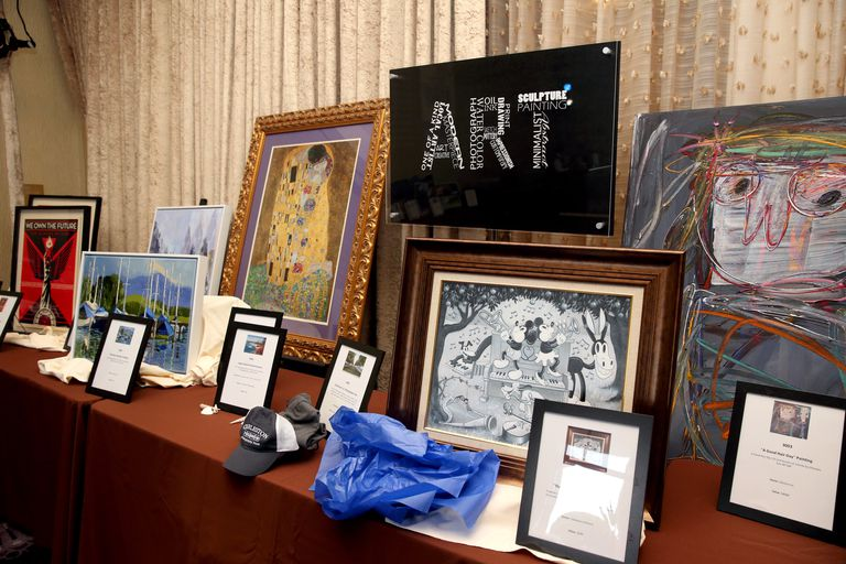 Items displayed for a charity auction.