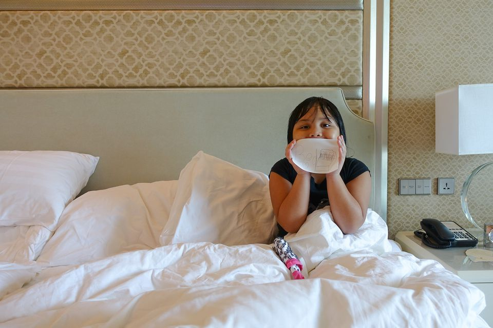 Kid in luxury hotel heaven, Shangri-La at the Fort in the Philippines
