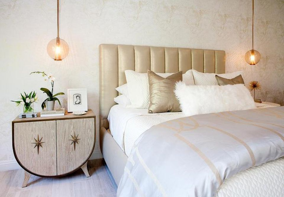 Glass round pendant lamps in bedroom