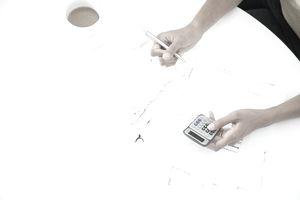 Woman budgeting at counter
