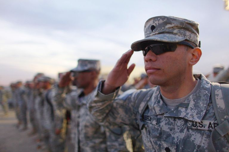 US Army soldier salutes
