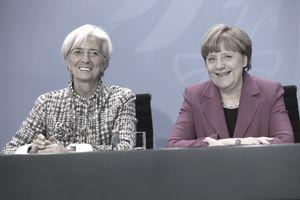 IMF Director Christine LaGarde and German Chancellor Angela Merkel
