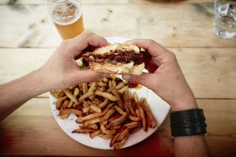burger, fries, beer