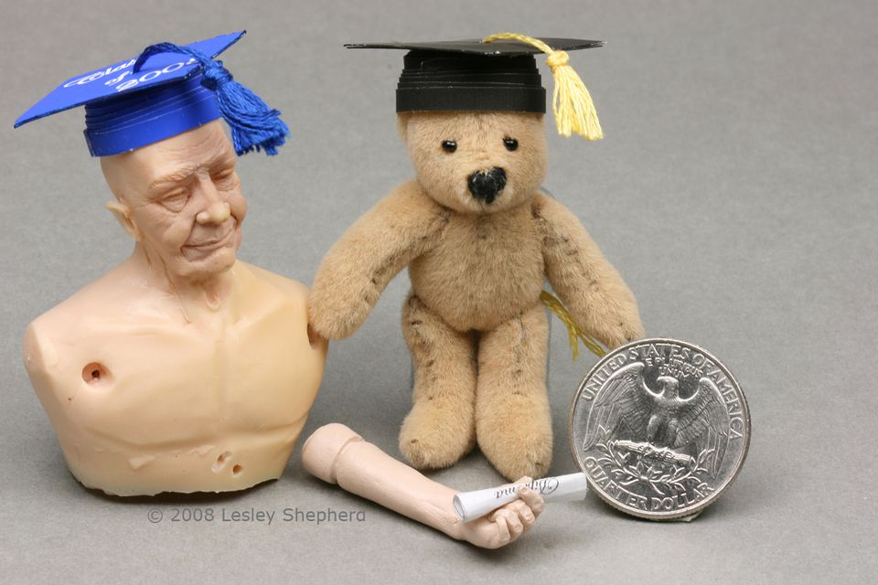 A bright blue and a black mortar board or graduation cap and diploma in 1:12, 1:6 or 1:24 scale.