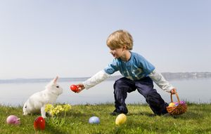 boy, bunny finding easter eggs