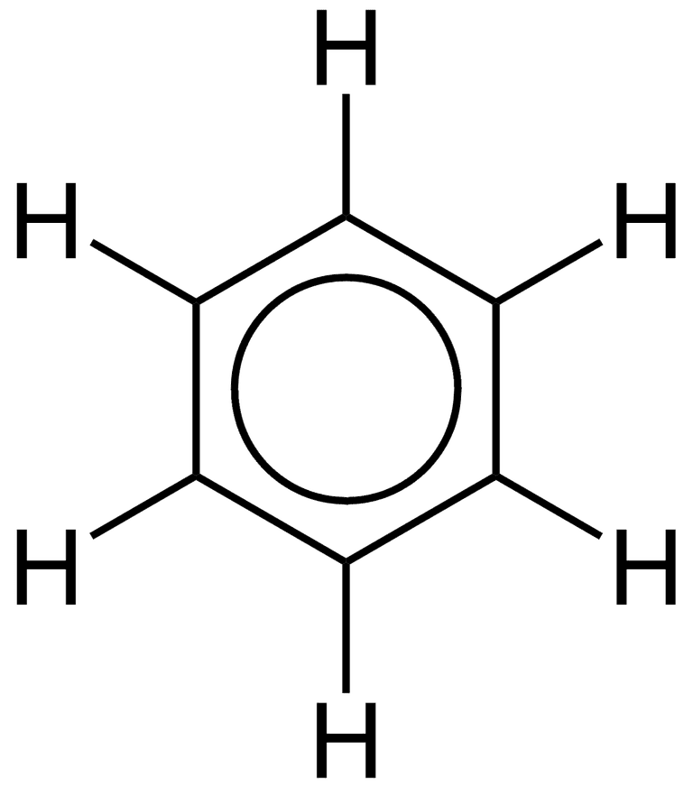 The delocalized electrons of benzene are indicated by drawing a circle within the ring.