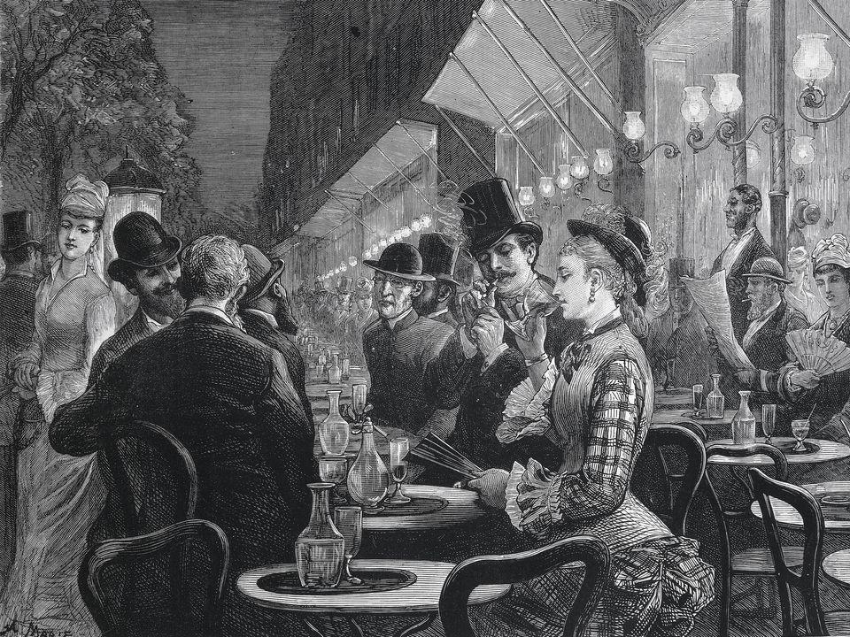 Cafe on Grand Boulevard, Paris, 1877, engraving, France, 19th century.