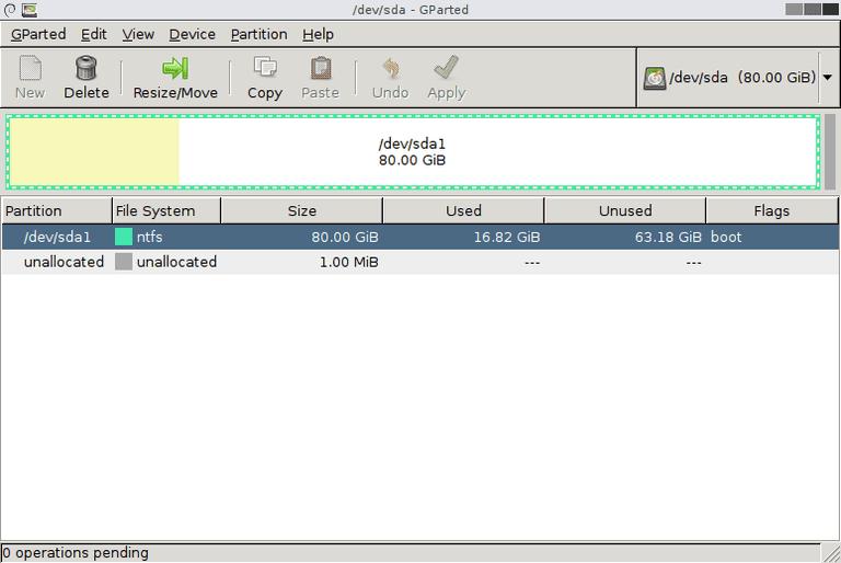 Screenshot of GParted v0.23.0