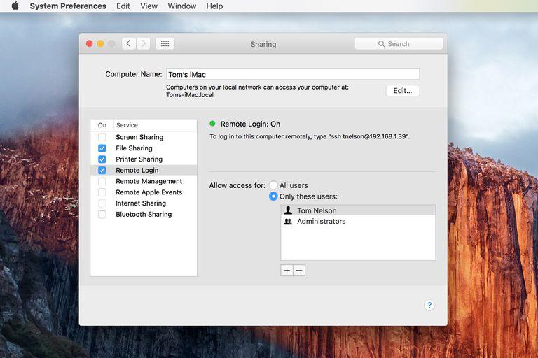 Remote Login - Sharing Preference pane
