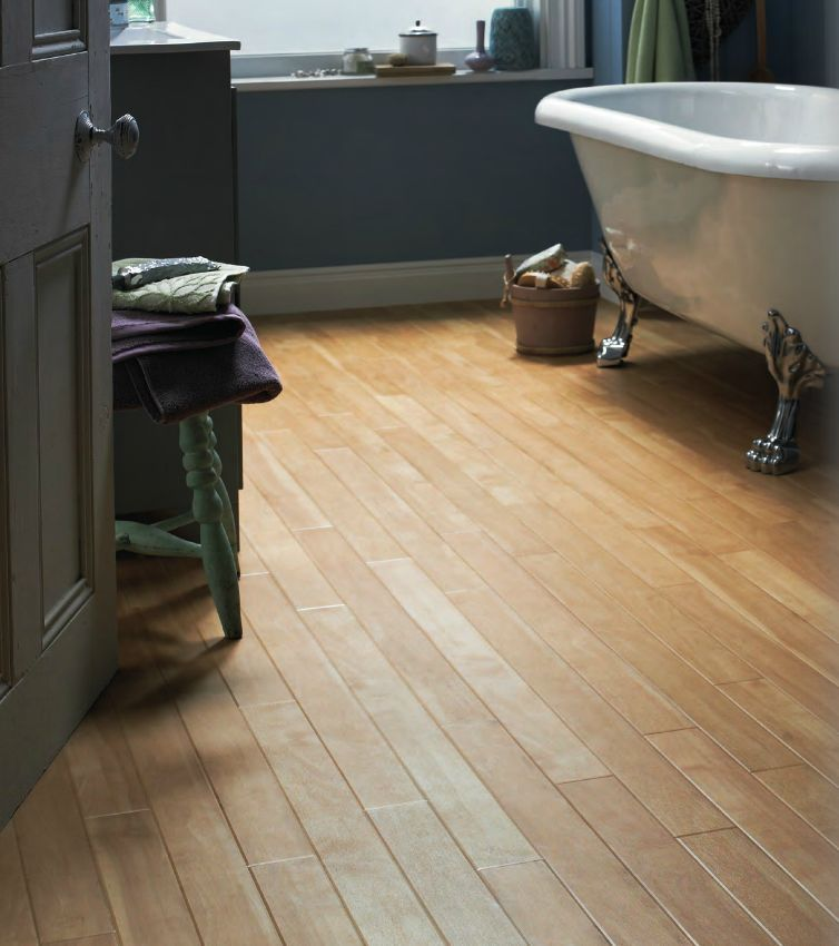 Light Canadian Maple Luxury Vinyl Floor In Bathroom