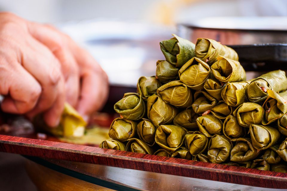 Making traditional Turkish food dolmades