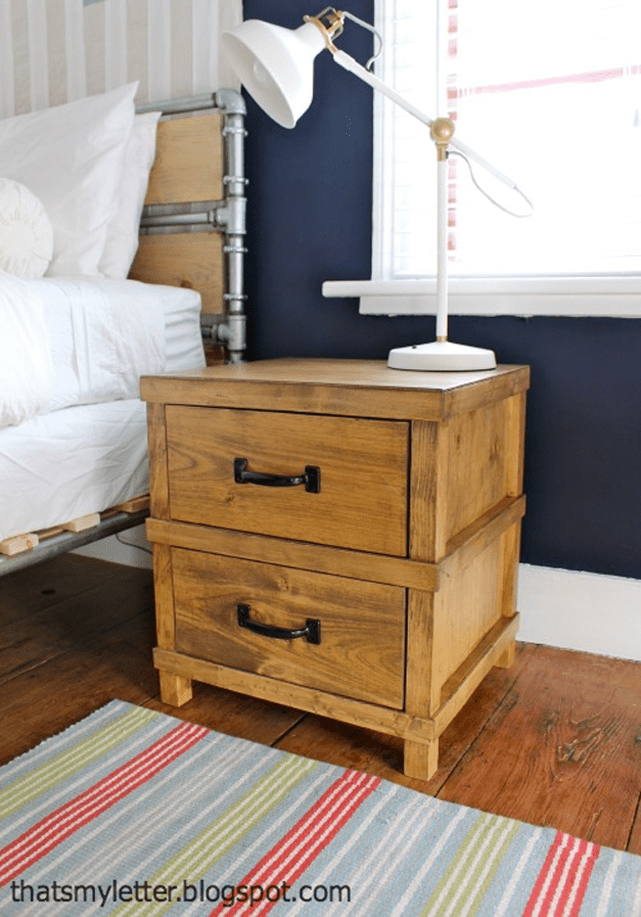 Picture of a nightstand with a lamp in a bedroom