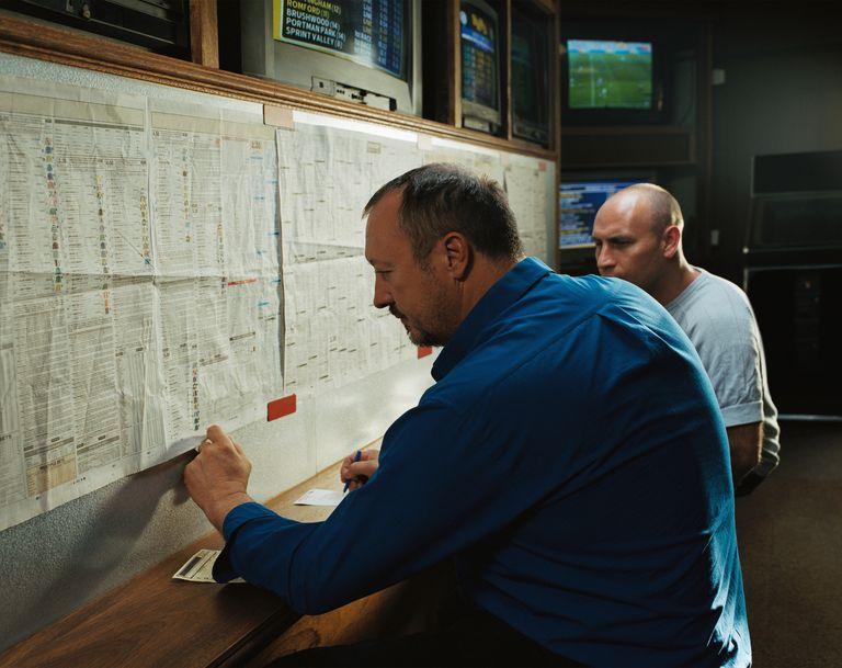 Men in a betting shop