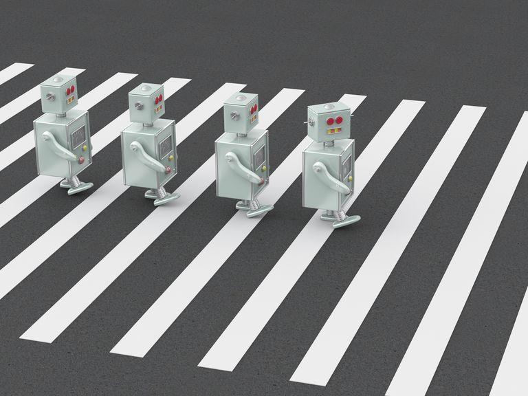 3D Rendering, Robots crossing zebra crossing