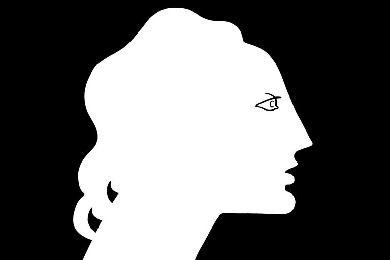 white silhouette of a woman on a black background