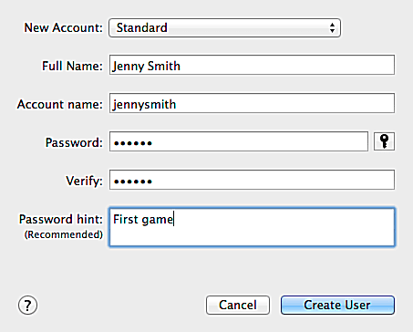 OS X User Account - Add Standard User Accounts to Your Mac