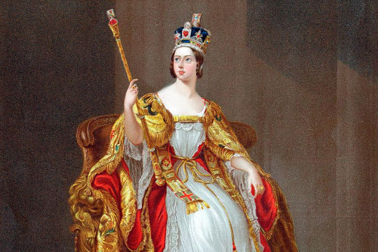 Queen Victoria on throne in her coronation robes, wearing British crown, holding the sceptre