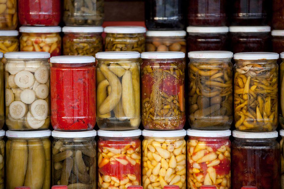 Lacto fermentation fruit and vegetable recipes assortment of glass jars filled with pickled vegetables forumfinder Images