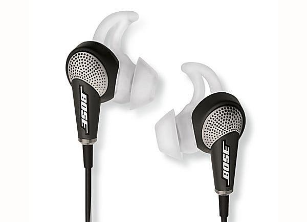 A close-up of the Bose QuietComfort 20 (QC-20) earphones