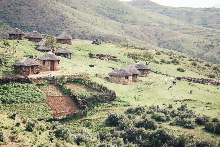 Village huts in Lesotho
