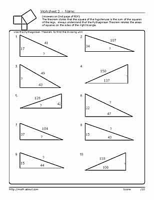 PythagoreanS Theorem Worksheets
