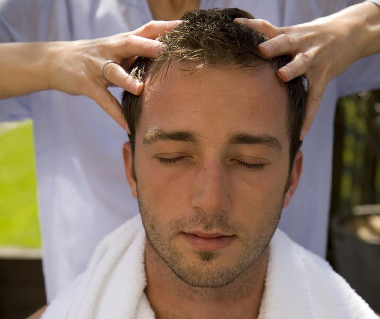 Man getting scalp massage