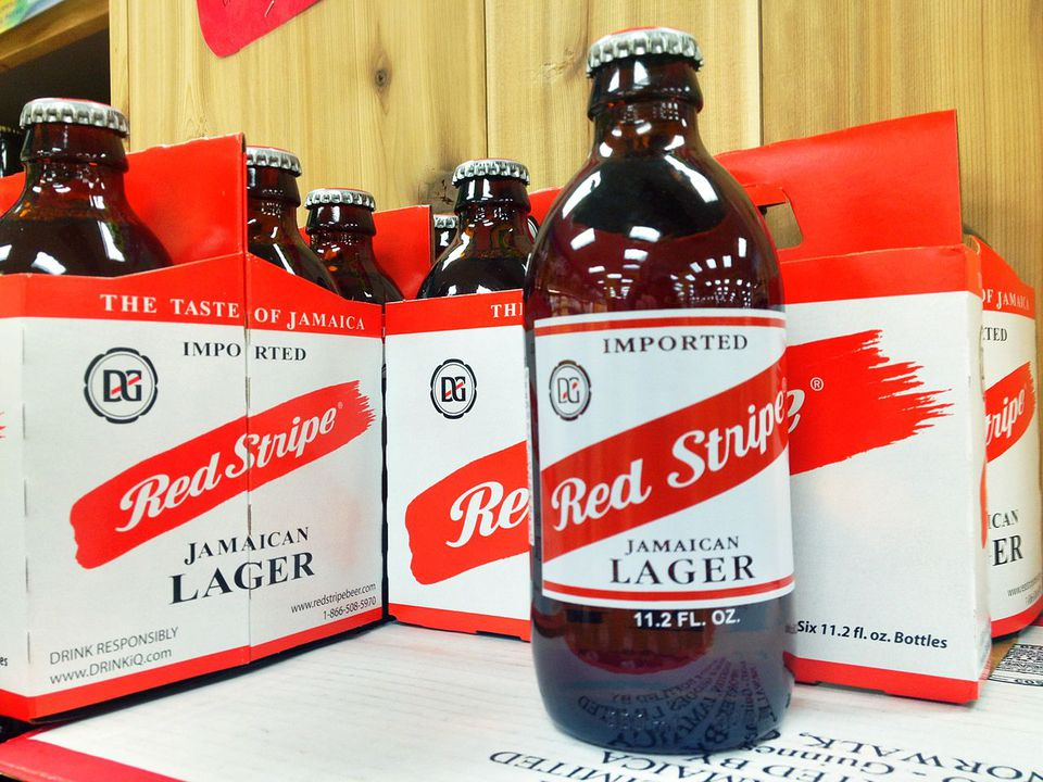 A case of Red Stripe Beer.
