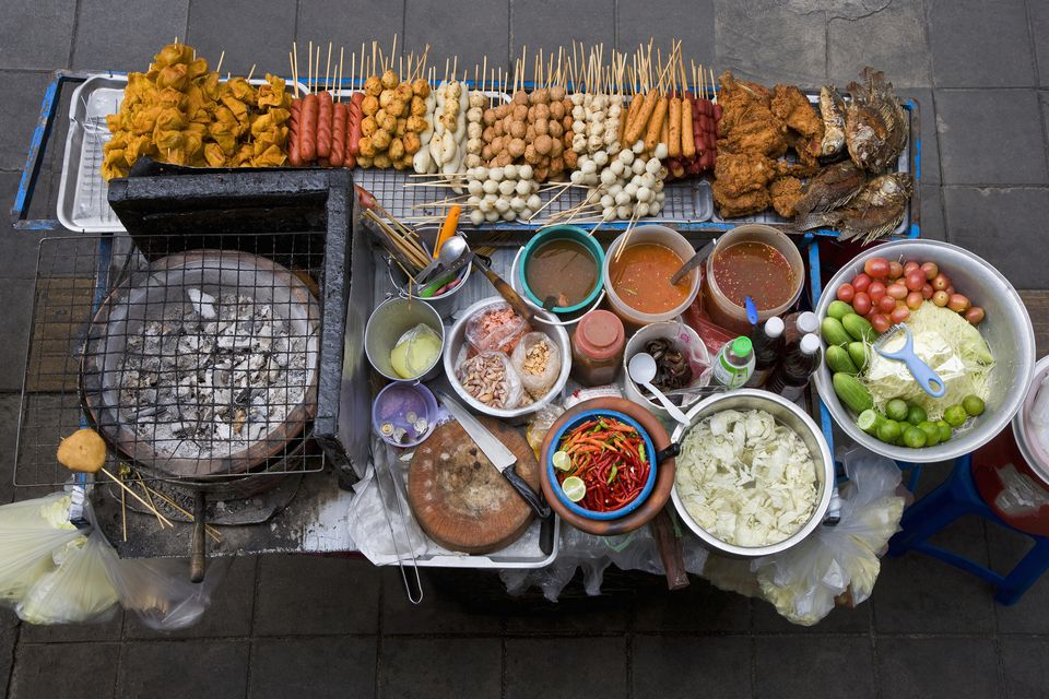 Street food stall in Silom, elevated view
