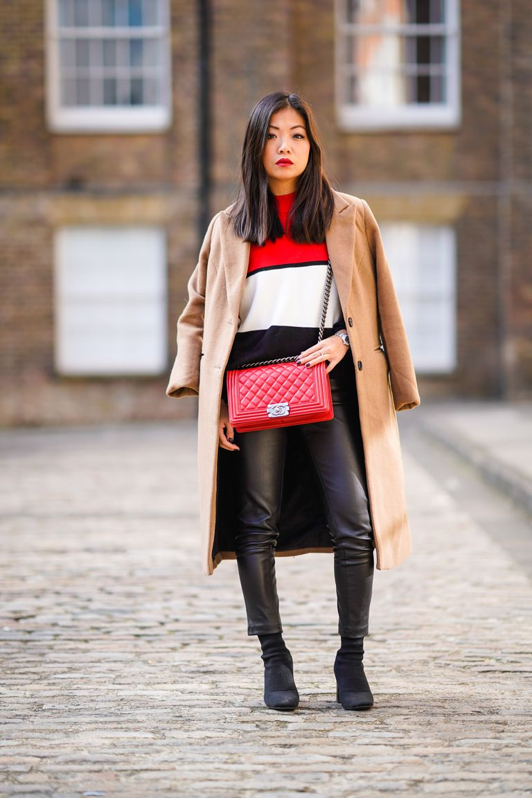 Woman in street style colorblocking