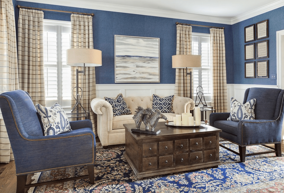 Transitional Living Room With Blue Accents