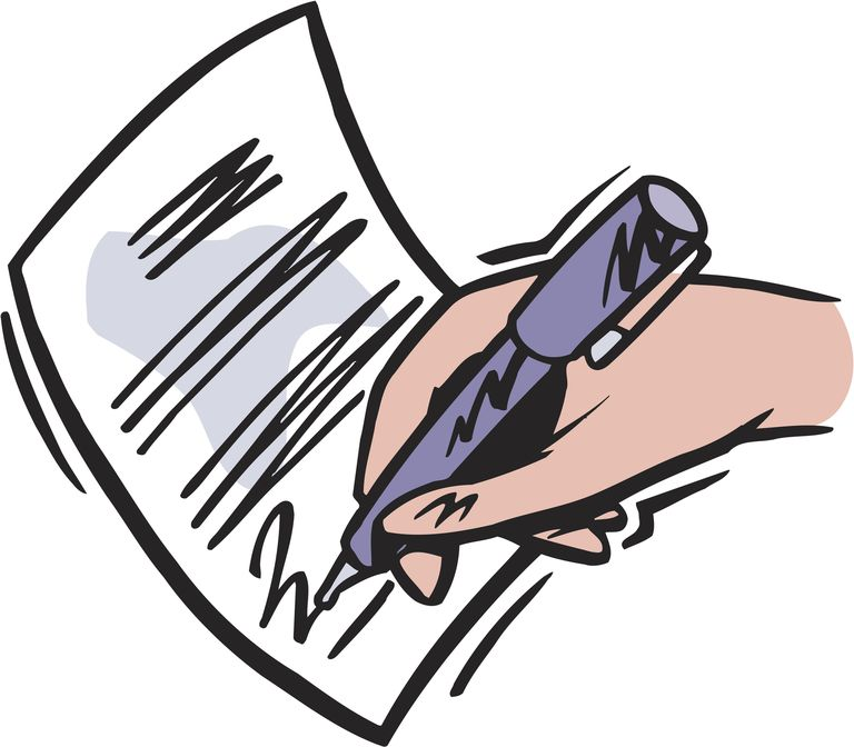 drawing of hand siging a contract with a purple pen