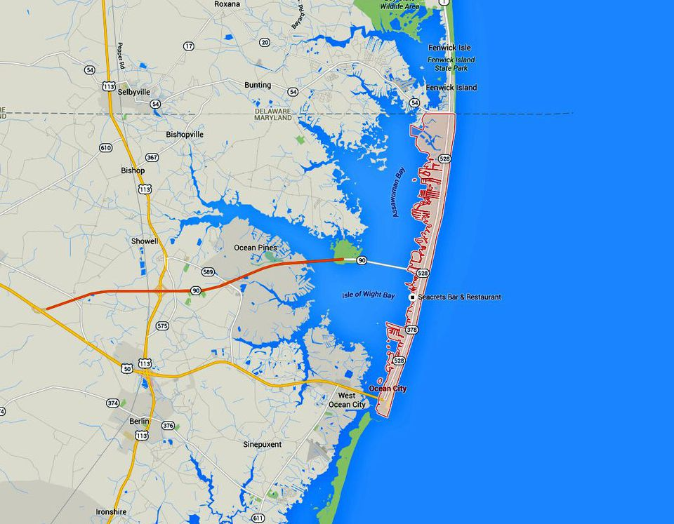 Maps And Directions To Maryland Eastern Shore Towns - Ocean city md map