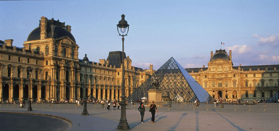 The Louvre Museum and its glass pyramid.