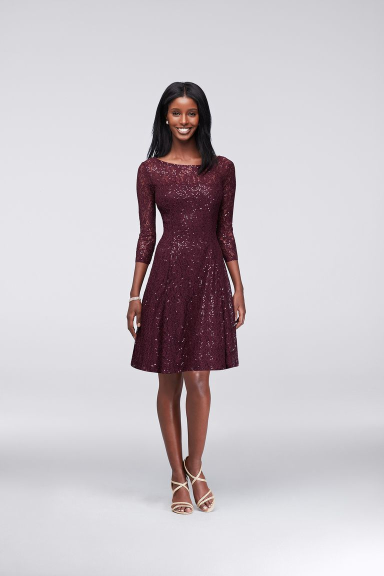 David's Bridal Sequined Lace Fit-and-Flare Dress