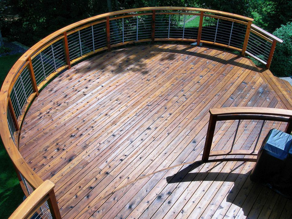 "Overhead picture of cedar decking ""in the round."" Cedar is a durable decking material."