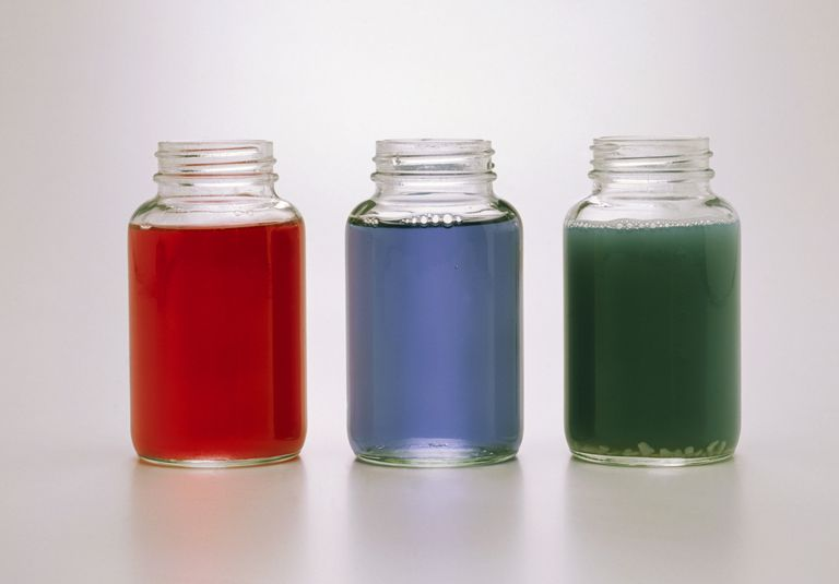 Three jars containing red cabbage juice, turned red by adding lemon (acid), green by adding soap (alkali), and blue with nothing added.