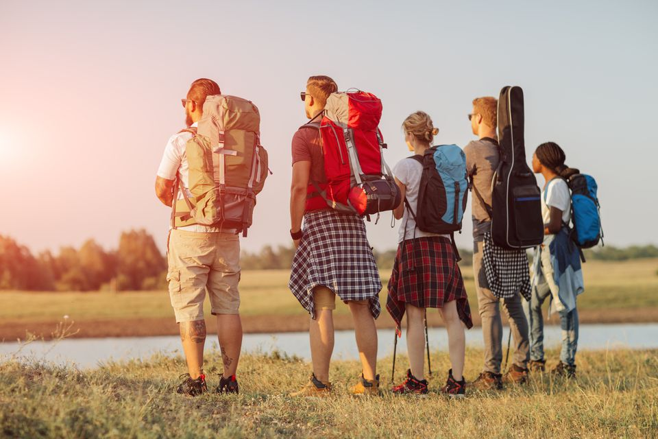 Friends backpacking