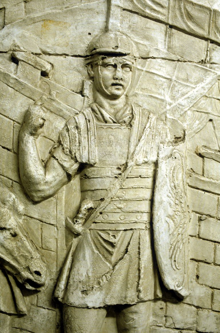 Roman legionary on sentry duty, from Trajan's column, Rome, 106-113.