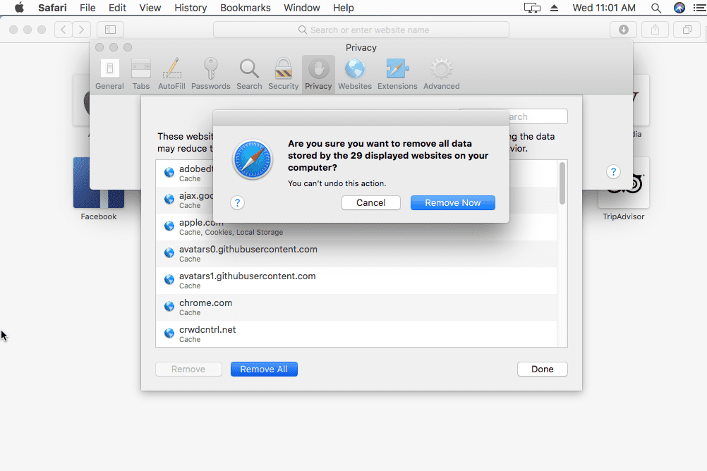 Screenshot showing how to clear cookies from the Safari web browser on macOS