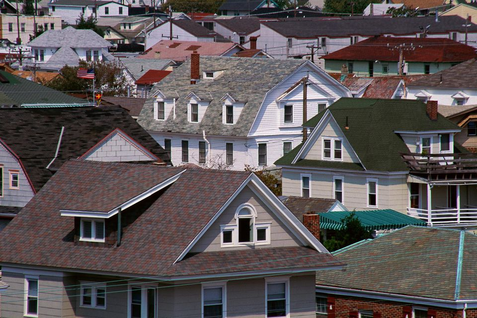 Rooftops of houses in New Jersey