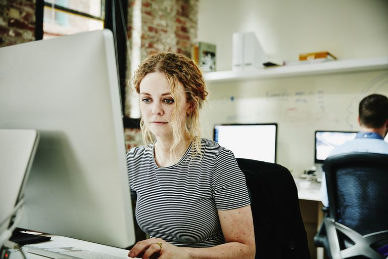 woman working at computer in office