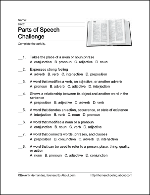 Parts of Speech Word Search, Crossword Puzzle, and More