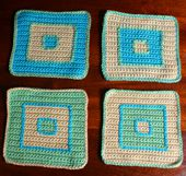 "Group of Four Afghan Squares Featuring the ""Framed Square"" Design in Various Colorways"